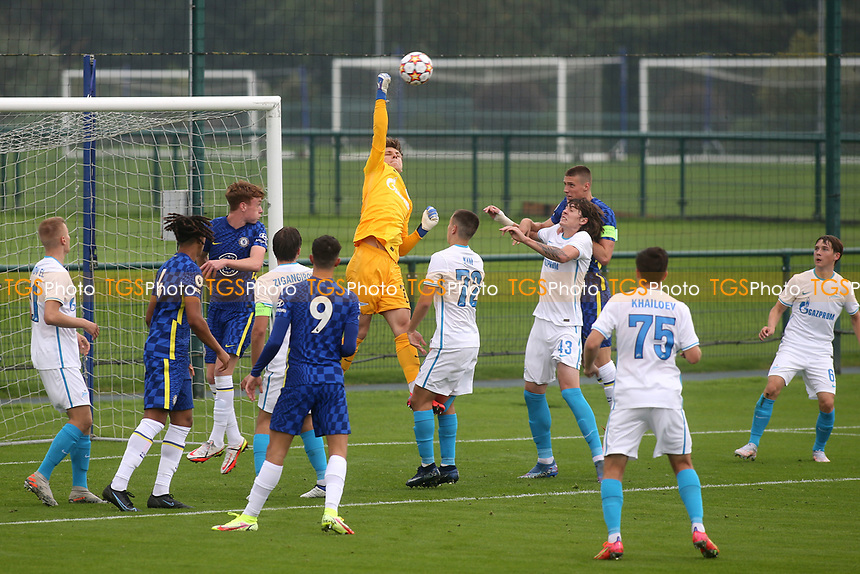 Zenit St Petersburg U19 goalkeeper, Daniil Odoevski punches the ball clear during Chelsea Under-19 vs FC Zenit Under-19, UEFA Youth League Football at Cobham Training Ground on 14th September 2021