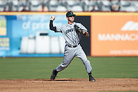 Scott McKeon (10) of the Coastal Carolina Chanticleers makes a throw to first base against the Duke Blue Devils at Segra Stadium on November 2, 2019 in Fayetteville, North Carolina. (Brian Westerholt/Four Seam Images)