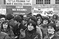 - manifestazione dell'organizzazione cattolica Comunione e liberazione per la Polonia....- demonstration of catholic organization Communion and Liberation for Poland (Milan, December 1981)