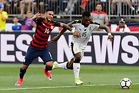 East Hartford, CT - Saturday July 01, 2017: Dom Dwyer, Rashid Sumalia during an international friendly match between the men's national teams of the United States (USA) and Ghana (GHA) at Pratt & Whitney Stadium at Rentschler Field.