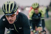 'stached' Michael Hepburn (AUS/Mitchelton-Scott) catching some raindrops while returning to the peloton<br /> <br /> 74th Omloop Het Nieuwsblad 2019 <br /> Gent to Ninove (BEL): 200km<br /> <br /> ©kramon