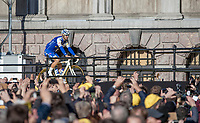 Tom Boonen (BEL/Quick Step Floors) coming the team presentation stage while teammates and fans cheer him on loudly<br /> <br /> 101st Ronde van Vlaanderen  2017 (1.UWT)<br /> 1day race: Antwerp-Oudenaarde (260km)