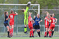 goalkeeper Elke Geeraert (25) of Club Brugge pictured catching the ball during a female soccer game between Club Brugge Dames YLA and Standard Femine de Liege on the seventh matchday in Play-Off 1 of the 2020 - 2021 season of Belgian Scooore Womens Super League , saturday 15 May 2021  in Brugge , Belgium . PHOTO SPORTPIX.BE | SPP | DAVID CATRY