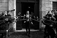 The secretary of Lega right party Matteo Salvini during a press conference outside the Senate.<br /> Rome(Italy), January 14th 2021<br /> Photo Samantha Zucchi/Insidefoto