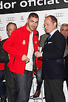 Real Madrid player Karim Benzema participates and recives new Audi during the presentation of Real Madrid's new cars made by Audi at the Jarama racetrack on November 8, 2012 in Madrid, Spain.(ALTERPHOTOS/Harry S. Stamper)