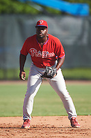 Philadelphia Phillies Josh Tobias (26) during an Instructional League game against the Toronto Blue Jays on October 1, 2016 at the Carpenter Complex in Clearwater, Florida.  (Mike Janes/Four Seam Images)