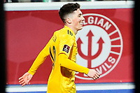 24th March 2021; Leuven, Belgium;  Connor Roberts  of Wales celebrates after scoring on 10 minutes during the World Cup Qatar 2022 Qualifiers Match between Belgium and Wales on March 24, 2021 in Leuven, Belgium