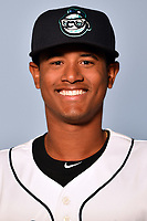 Asheville Tourists pitcher Erick Julio (29) poses for a photo at Story Point Media on April 3, 2017 in Asheville, North Carolina. (Tony Farlow/Four Seam Images)