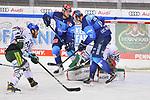 Louis-Marc Aubry (Nr.11 - ERC Ingolstadt) und Ryan Kuffner (Nr.12 - ERC Ingolstadt) vor Markus Keller (Nr.35 - Augsburger Panther) beim Spiel in der Gruppe Sued der DEL, ERC Ingolstadt (dunkel) - Augsburger Panther (hell).<br /> <br /> Foto © PIX-Sportfotos *** Foto ist honorarpflichtig! *** Auf Anfrage in hoeherer Qualitaet/Aufloesung. Belegexemplar erbeten. Veroeffentlichung ausschliesslich fuer journalistisch-publizistische Zwecke. For editorial use only.