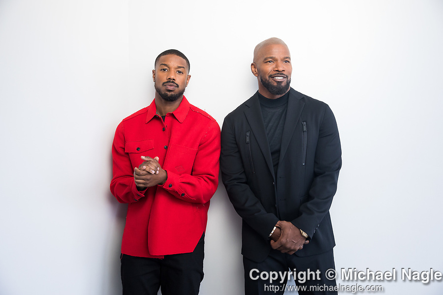 NEW YORK, NY — 9/9/19:  Actors Michael B. Jordan, left, and Jamie Foxx, right, who star in Just Mercy, stand for a portrait on Monday, September 9, 2019 in New York City.  (PHOTOGRAPH BY MICHAEL NAGLE / FOR THE TIMES)