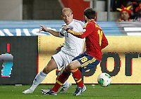 Spain's Jordi Alba (r) and Finland's Arkivuo during international match of the qualifiers for the FIFA World Cup Brazil 2014.March 22,2013.(ALTERPHOTOS/Acero)