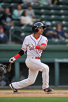 Shortstop Jeremy Rivera (35) of the Greenville Drive bats in a game against the Charleston RiverDogs on Tuesday, May 17, 2016, at Fluor Field at the West End in Greenville, South Carolina. Greenville won, 4-2. (Tom Priddy/Four Seam Images)