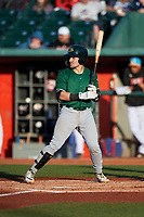 Beloit Snappers Skyler Weber (4) at bat during a Midwest League game against the Lansing Lugnuts at Cooley Law School Stadium on May 4, 2019 in Lansing, Michigan. Beloit defeated Lansing 2-1. (Zachary Lucy/Four Seam Images)