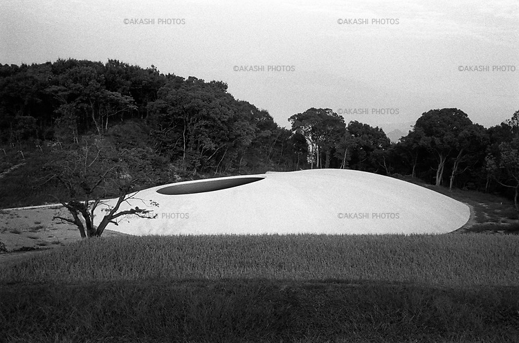 Teshima Art Museum by Rei Naito in the middle of rice field.