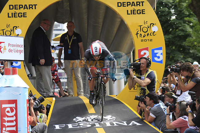 Fabian Cancellara (SUI) Radioshack-Nissan powers off the start ramp of the Prologue of the 99th edition of the Tour de France 2012, a 6.4km individual time trial starting in Parc d'Avroy, Liege, Belgium. 30th June 2012.<br /> (Photo by Eoin Clarke/NEWSFILE)