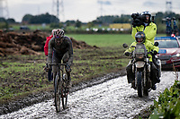 race leader Gianni Moscon (ITA/INEOS Grenadiers)<br /> <br /> 118th Paris-Roubaix 2021 (1.UWT)<br /> One day race from Compiègne to Roubaix (FRA) (257.7km)<br /> <br /> ©kramon