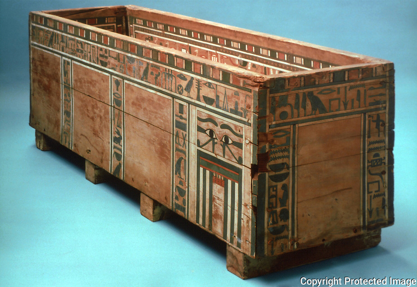 Egyptian Mummies and Coffins:  Inner coffin of Seni.  Middle Kingdom, c. 1900 BC.  Trustees of the British Museum 1986. Reference only.
