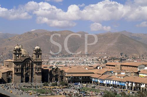 Cusco, Peru. Looking south over the Plaza de Armas.