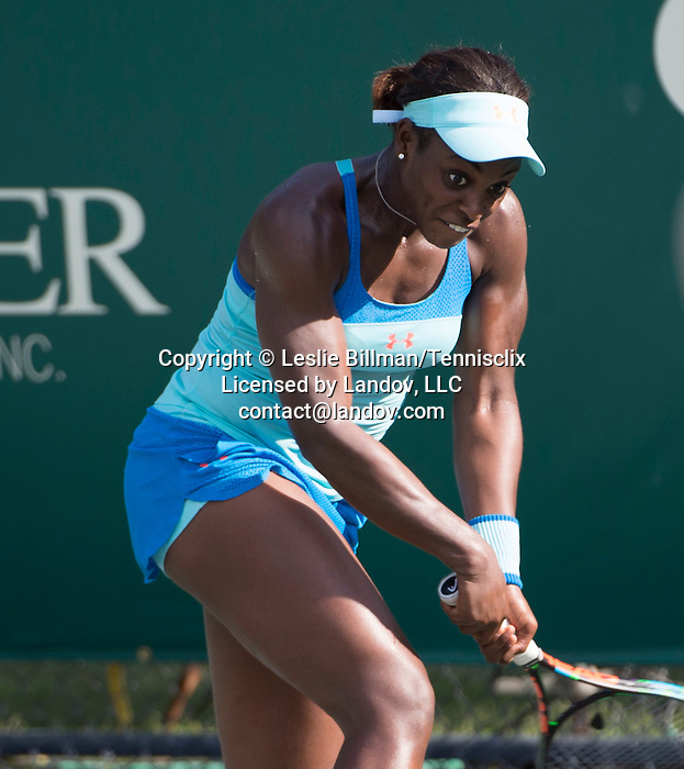Sloane Stephens (USA) loses to Mona Barthel (GER) 6-3, 7-6 at the Family Circle Cup in Charleston, South Carolina on April 8, 2015.