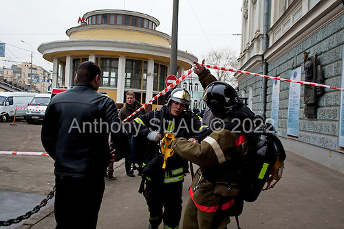 Moscow, Russia<br /> March 29, 2010<br /> <br /> Scene around Park Kultura Metro station where 12 people were killed in a terrorist attack and 18 injured. Also a bomb exploded at Lubyanka metro Station during the morning rush hour.