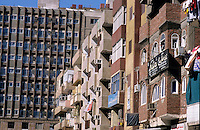 Exteriors of apartment buildings, Aswan, Egypt.
