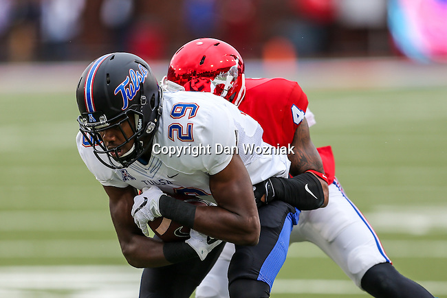 Tulsa Golden Hurricane wide receiver Justin Hobbs (29) in action during the game between the Tulsa Golden Hurricanes and the SMU Mustangs at the Gerald J. Ford Stadium in Dallas, Texas.