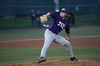 Dalton Horton (11) of the TCU Horned Toads pitches against the Long Beach State Dirtbags  at Blair Field on March 14, 2017 in Long Beach, California. Long Beach defeated TCU, 7-0. (Larry Goren/Four Seam Images)