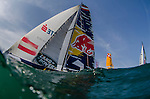 Competitors in action during Day 3 of the Act 3 Extreme Sailing Series Qingdao 2014 at Qingdao International Sailing Centre race during the  on May 3, 2014 in Qingdao, China. Photo by Xaume Olleros / Power Sport Images