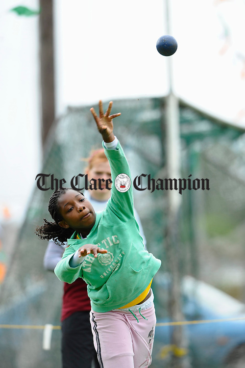 Rianat Sotayo throwing the shot putt at the Clare Community Games Athletics finals in Rosslevan. Photograph by John Kelly.