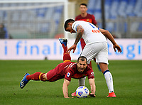 Football, Serie A: AS Roma - Atalanta Olympic stadium, Rome, April 22, 2021. <br /> Roma's Heinrikh Mkhitaryan (l) in action with Atalanta's Cristian Romero (r) during the Italian Serie A football match between AS Roma and Atalanta at Rome's Olympic stadium, Rome, on April 22, 2021.  <br /> UPDATE IMAGES PRESS/Isabella Bonotto