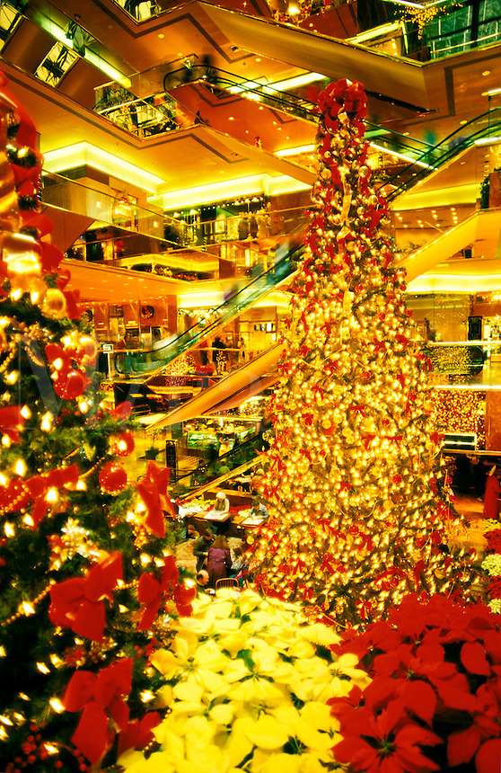 USA New York, New York City. Interior of Trump Tower decorated for Christmas