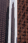 Office buildings downtown Los Angeles with reflections off windows abstract