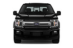 Car photography straight front view of a 2018 Ford F-150 XLT 4wd SuperCrew 4 Door Pick Up
