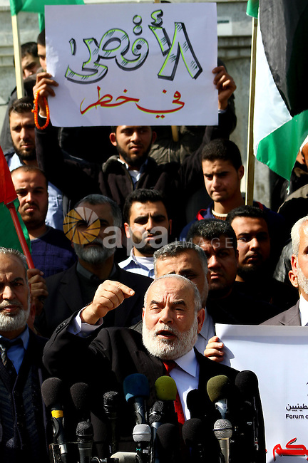 The spokesman of Hamas Parliament, Ahmed Bahar delivers speech during a press conference in a demonstration in Gaza City on February 23, 2012 against the arrest of three Palestinians in Jerusalem's old city that houses the Al-Aqsa mosque compound after confrontations with Jewish visitors. Photo by Ashraf Amra