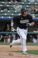 Coastal Carolina Chanticleers infielder Richard Carter #10 at bat during a game against the Wichita State Shockers at Ticketreturn.com Field at Pelicans Ballpark on February 23, 2014 in Myrtle Beach, South Carolina. Wichita State defeated Coastal Carolina by the score of 5-2. (Robert Gurganus/Four Seam Images)