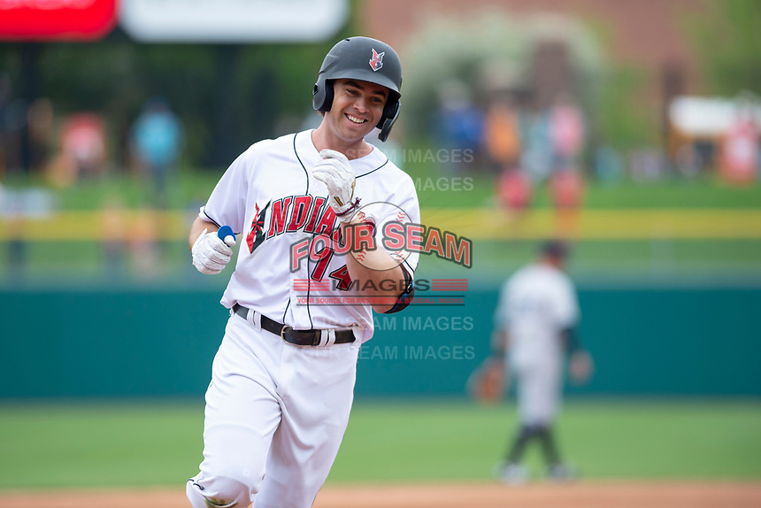 Indianapolis Indians right fielder Eric Wood (14) rounds the bases after hitting a home run during an International League game against the Columbus Clippers on April 30, 2019 at Victory Field in Indianapolis, Indiana. Columbus defeated Indianapolis 7-6. (Zachary Lucy/Four Seam Images)