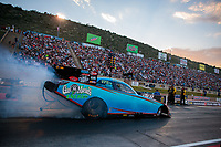 Jul 19, 2019; Morrison, CO, USA; NHRA funny car driver Jeff Diehl during qualifying for the Mile High Nationals at Bandimere Speedway. Mandatory Credit: Mark J. Rebilas-USA TODAY Sports
