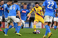 Lionel Messi of FC Barcelona surrounded by Diego Demme and other Napoli players <br /> Napoli 25-02-2020 Stadio San Paolo <br /> Football Champions League 2019/2020 - Round 16, 1st leg<br /> SSC Napoli - FC Barcelona<br /> Photo Antonietta Baldassarre / Insidefoto