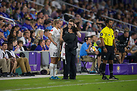 Orlando, FL - Saturday March 24, 2018: The training staff does an evaluation of Utah Royals forward Elise Thorsnes (20) after a collision on the field during a regular season National Women's Soccer League (NWSL) match between the Orlando Pride and the Utah Royals FC at Orlando City Stadium. The game ended in a 1-1 draw.