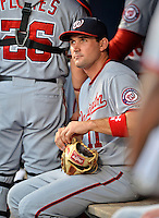 24 July 2012: Washington Nationals third baseman Ryan Zimmerman in the dugout during a game against the New York Mets at Citi Field in Flushing, NY. The Nationals defeated the Mets 5-2 to take the second game of their 3-game series. Mandatory Credit: Ed Wolfstein Photo