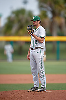Dartmouth Big Green starting pitcher Nathan Skinner (15) looks in for the sign during a game against the USF Bulls on March 17, 2019 at USF Baseball Stadium in Tampa, Florida.  USF defeated Dartmouth 4-1.  (Mike Janes/Four Seam Images)