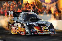 Oct. 14, 2011; Chandler, AZ, USA; NHRA funny car driver Matt Hagan during qualifying at the Arizona Nationals at Firebird International Raceway. Mandatory Credit: Mark J. Rebilas-