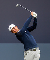 160719 | The 148th Open - Tuesday Practice<br /> <br /> Xander Schauffele of USA on the first tee during practice for the 148th Open Championship at Royal Portrush Golf Club, County Antrim, Northern Ireland. Photo by John Dickson - DICKSONDIGITAL