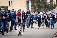 a dissapointed Dutch National Champion Mathieu Van der Poel (NED/Alpecin-Fenix) after finishing 2nd behind Alaphilippe<br /> <br /> 60th De Brabantse Pijl 2020 - La Flèche Brabançonne (1.Pro)<br /> 1 day race from Leuven to Overijse (BEL/197km)<br /> <br /> ©kramon