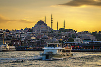 Fine, Art, Landscape Photograph, Bosphorus, Strait,  Suleymaniye, Mosque, Istanbul, Turkey, Golden, Rays, Setting, Sun, Texture Buildings, Waterway, Bosphorus,<br /> Sky, Background, Contrast, Architecture, Minarets, Curved, Domes, Mosque, Istanbul,<br /> Boats, Ships, Birds, Signs, Waves, Tires, Life Preserver,