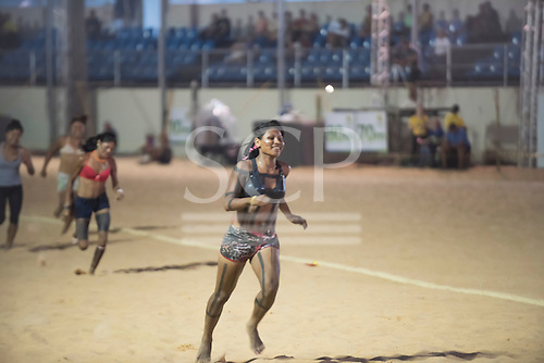Ivanilena Hireki Xerente wins her heat in the 100 metres at the International Indigenous Games, in the city of Palmas, Tocantins State, Brazil. Photo © Sue Cunningham, pictures@scphotographic.com 26th October 2015. Xerente woman winner of the 100 meters heat.