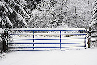 Ranch gate covered in snow.