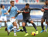 Football, Serie A: S.S. Lazio - Udinese Olympic stadium, Rome, December 1, 2019. <br /> Lazio's Ciro Immobile (l) in action with Udinese's Rolando Mandragora (r) during the Italian Serie A football match between S.S. Lazio and Udinese at Rome's Olympic stadium, Rome on December 1, 2019.<br /> UPDATE IMAGES PRESS/Isabella Bonotto