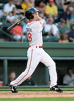 Center fielder Cody Koback (18) of the Greenville Drive in a game against the Lexington Legends on May 2, 2012, at Fluor Field at the West End in Greenville, South Carolina. Lexington won, 4-2. (Tom Priddy/Four Seam Images)