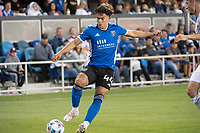 SAN JOSE, CA - JUNE 26: Cade Cowell #44 of the San Jose Earthquakes controls the ball during a game between Los Angeles Galaxy and San Jose Earthquakes at PayPal Park on June 26, 2021 in San Jose, California.